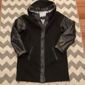 Black Jacket with Faux Leather Trim